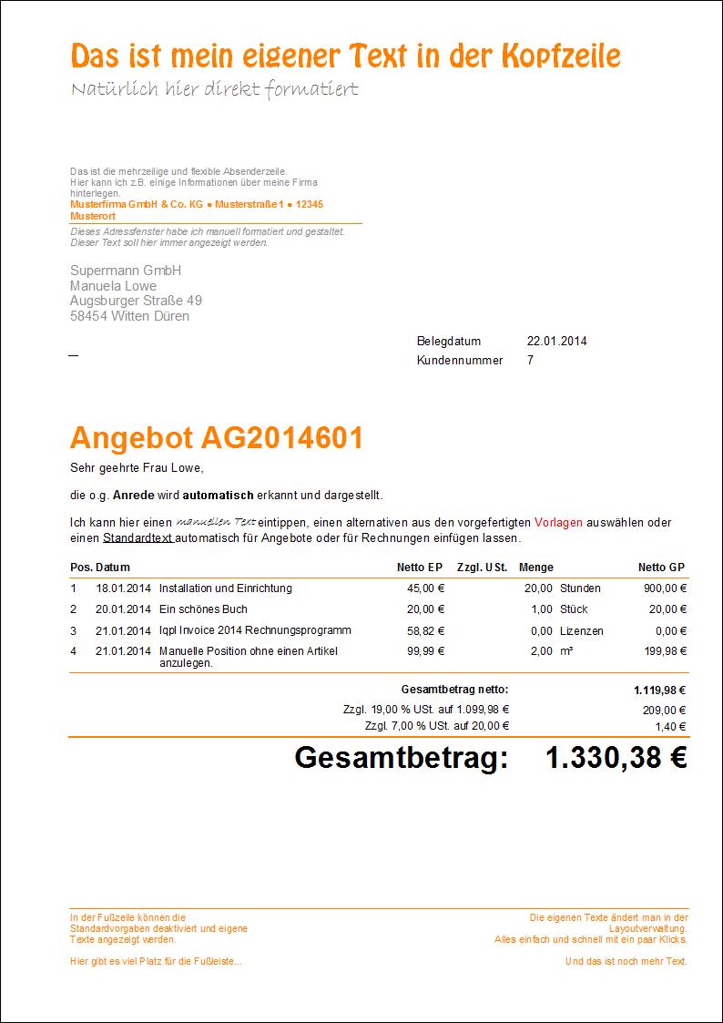 lqpl Invoice 2017 Beispielausdruck